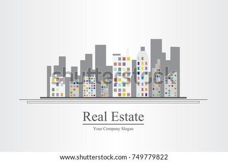 Modern real estate of architectural building design, city scene, design template, corporate branding identity.