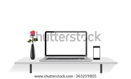 Modern realistic and detailed laptop and smartphone on desk, Vector illustration