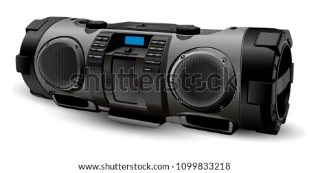 Modern realistic Boombox mockup in silver and grey colours. Street style portable Stereo system recorder. Hip hop, Rap, Rock, pop culture. Vector illustration isolated on white background.