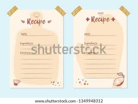 Modern Recipe card template set for cookbook. Menu Creator Vector Illustration. Kitchen food template