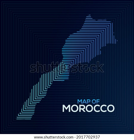 Modern Rectangular Map of Morocco. Morocco vector map illustration with an abstract style. The blue colour elegant looks vector map of Morocco.