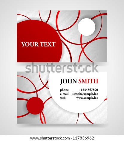 Modern red and gray modern business card template.