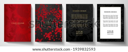 Modern red, black cover, frame design set. Creative abstract art pattern with brush stroke on background. Luxe grunge artistic vector collection for party flyer, catalog, brochure, menu template