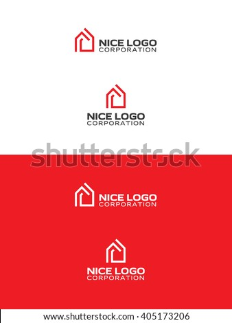 modern red house logo  real