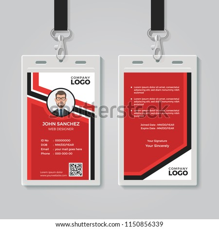 Modern Red ID Card Template
