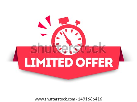 Modern Red Limited Offer Banner Tag With Stop Watch. Vector Web Element.