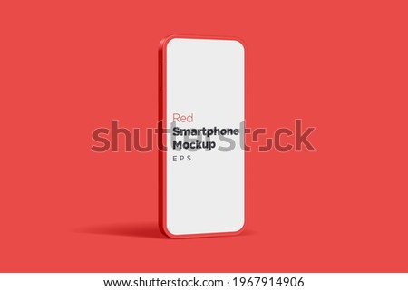 Modern red mock up smartphone for presentation, information graphics, app display, standing view eps vector format.