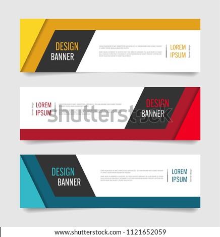Modern Red,Orange and Blue color banner design. Web banner template vector design. #1121652059