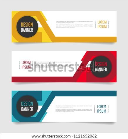 Modern Red,Orange and Blue color banner design. Web banner template vector design. #1121652062