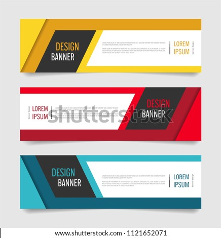 Modern Red,Orange and Blue color banner design. Web banner template vector design. #1121652071