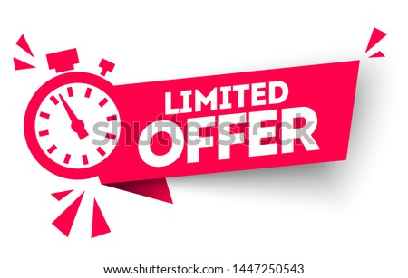 Modern red vector banner ribbon limited  offer with stop watch. Foto d'archivio ©