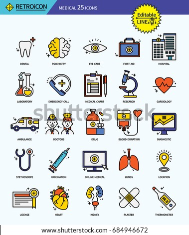 Modern retro thin line icons set of medical. Premium quality outline symbol set. Simple linear pictogram pack. Editable line series #684946672