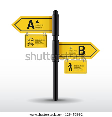 Modern road sign Design template / can be used for infographics / sign banners / horizontal cutout lines / graphic or website layout vector