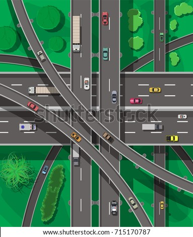 Modern roads and transport. Top view. Road and highway junction. Intersections and overpasses. Roadster, taxi, police SUV, ambulance, sedan, truck. Above view. Vector illustration in flat style