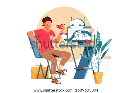 Modern robot assistant vector illustration. Man sitting at workplace and drinking tea. Bot helping guy and holding saucer flat style design. Newest robotic technology concept