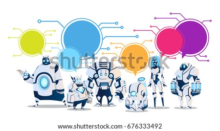 modern robot set with chat