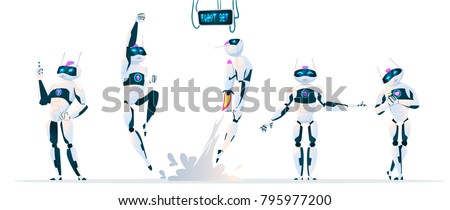 Modern Robot Set With expressions Artificial Intelligence Technology Flat Vector Illustration