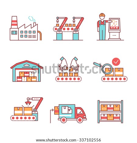 Modern robotic and manual manufacturing assembly lines. Packaging, loading and warehouse inventory. Thin line art icons set. Flat style illustrations isolated on white.