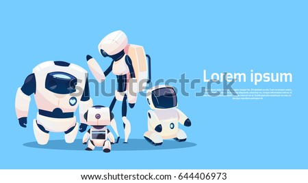 modern robots group  futuristic