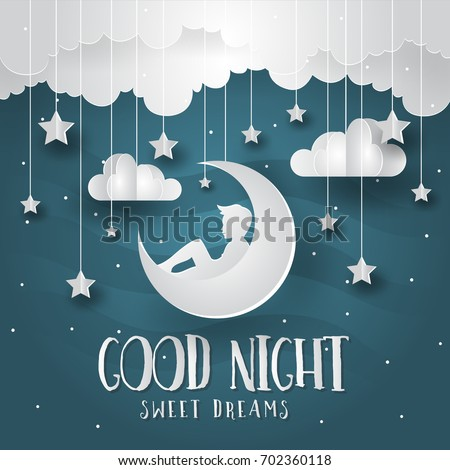 Modern Romantic Paper Art Good Night Card Illustration - Future Dreams