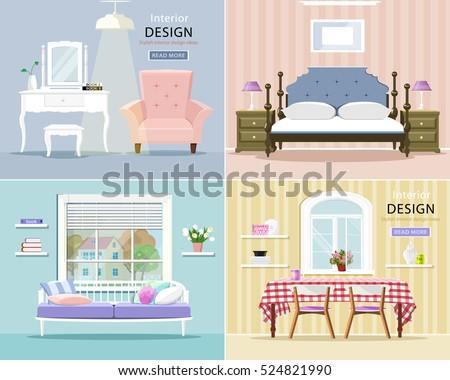 modern room interiors set