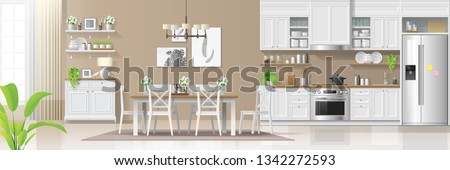 Modern rustic house interior background with kitchen and dining room combination , vector , illustration