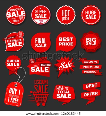 Modern sale banners and labels collection #1260183445