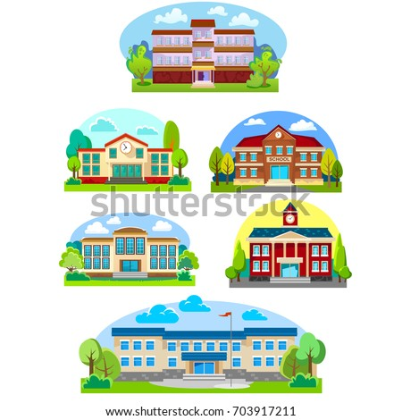 modern school buildings exterior, student city concept, elementary facade urban street background, icons set vector illustration