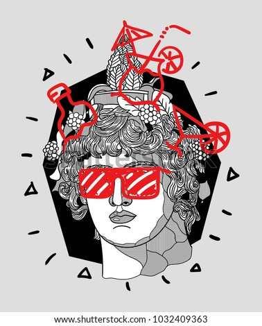 Modern Sculpture. T-Shirt Design & Printing, clothes, bags, posters, invitations, cards, leaflets etc. Vector illustration hand drawn. Dionysus or Bacchus.