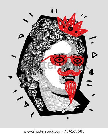 Modern Sculpture. T-Shirt Design & Printing, clothes, bags, posters, invitations, cards, leaflets etc. Vector illustration hand drawn. Belvedere Apollo with glasses and crone, mustache