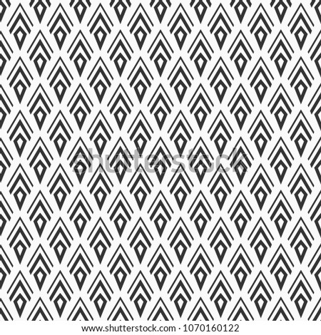 Modern seamless geometry monochrome pattern. Arrowhead pattern. Abstract geometric vector background. Pillow print. Modern stylish texture. Contrast geometric seamless backdrop. Fashion design.