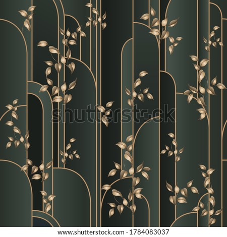modern seamless pattern with art-deco lattice and gold leaves. Seamless classic background on vector