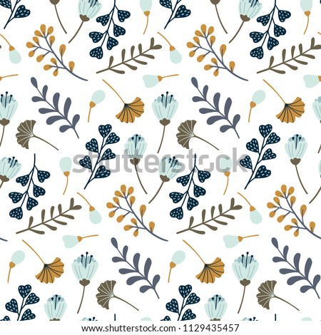 Modern seamless pattern with leaves, flowers and floral elements. Autumn pattern design. Good for printing. Vector wallpaper.