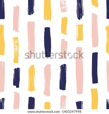 Modern seamless pattern with yellow, pink, blue brush strokes on white background. Creative backdrop with vertical paint traces or smears. Artistic vector illustration for textile print, wallpaper.