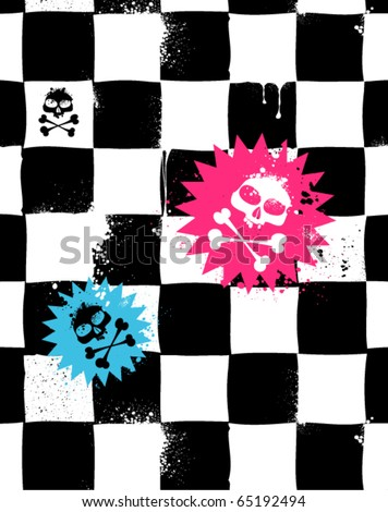 Modern seamless texture with skulls. Cool emo style. Vector EPS 10 illustration.
