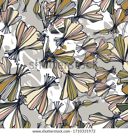 Modern seamless vector botanical colourful pattern with abstract lined butterfly flowers in pastel brown colors. Can be used for printing on paper, stickers, badges, bijouterie, cards, textiles.  Foto d'archivio ©