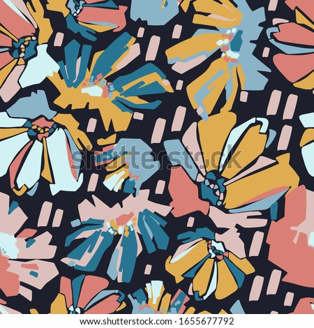 Modern seamless vector botanical pattern with colourful chicory flowers. Can be used for printing on paper, stickers, badges, bijouterie, cards, textiles.  Foto d'archivio ©