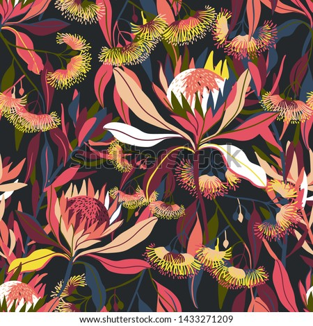 Modern seamless vector, with tropical flora. Design drawn with the help of the iPad Pro and modified in vectorized form.