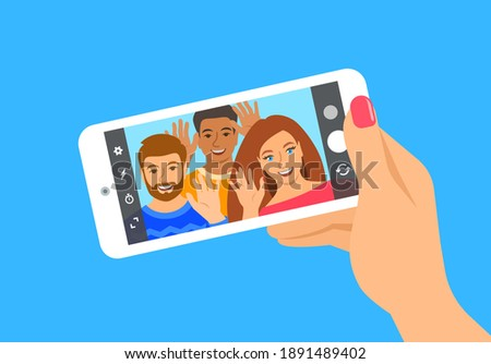 Modern selfie concept. Flat vector illustration. Young people posing for selfie and holding smart phone in their hands. Happy friends take a photo of themselves by mobile phone camera for social media