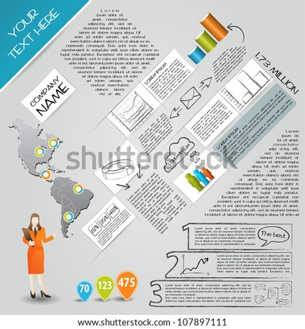 Modern set elements of infographics. Map of America and Information Graphics