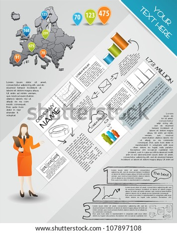 Modern set elements of infographics.  Map of Europe and Information Graphics