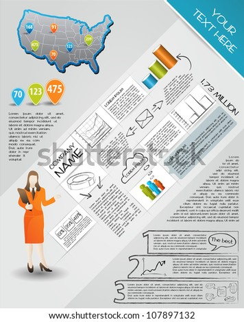 Modern set elements of infographics.  Map of USA and Information Graphics