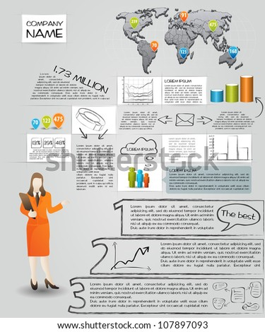 Modern set elements of infographics. World Map and Information Graphics