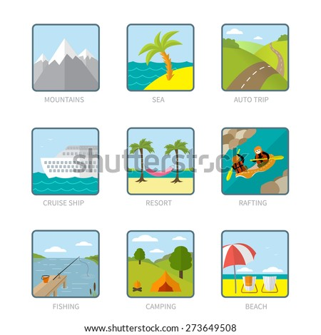 Modern set of beautiful summer and travel icons in trendy flat design: mountains, a tropic island, a road, a cruise ship, palm trees and a hammock, rafters, a lake, beach and sea coast, camping place.