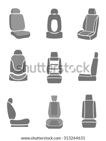 Modern set of car seat icons in grey colors. Editable automotive collection. Vector illustration.