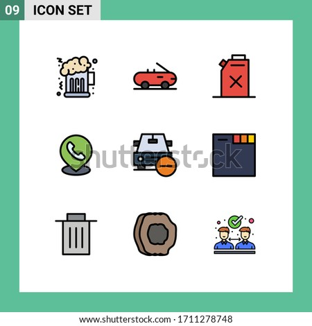 Modern Set of 9 Filledline Flat Colors and symbols such as browser; minus; telephone; less; car Editable Vector Design Elements