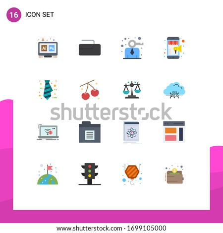 Modern Set of 16 Flat Colors and symbols such as office; mobile marketing; business; shopping; online Editable Pack of Creative Vector Design Elements