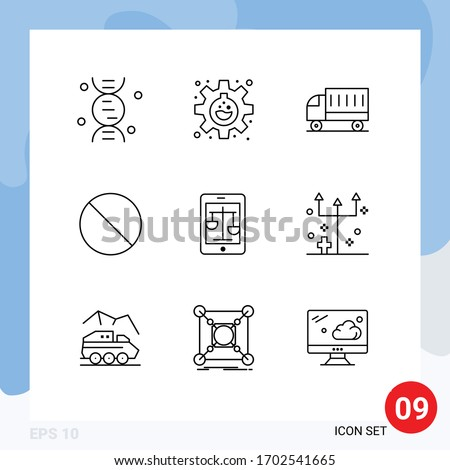Modern Set of 9 Outlines Pictograph of internet; prohibited; delivery; no; cancel Editable Vector Design Elements