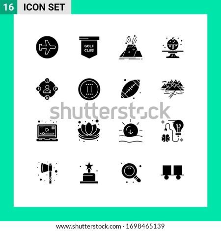 modern set of 16 solid glyphs