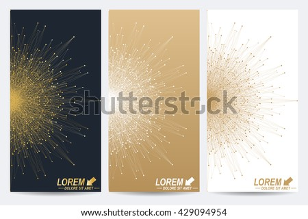 Modern set of vector flyers. Geometric abstract presentation with golden mandala. Molecule and communication background for medicine, science, technology, chemistry.
